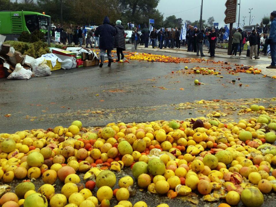 חסימת הצומת מול הכנסת בפרי הדר. החקלאים מאיימים לפתוח במרד ולהשליך תוצרת חקלאית. צילום טל זמיר